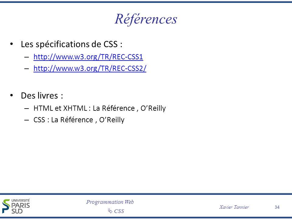 Références Les spécifications de CSS : Des livres :
