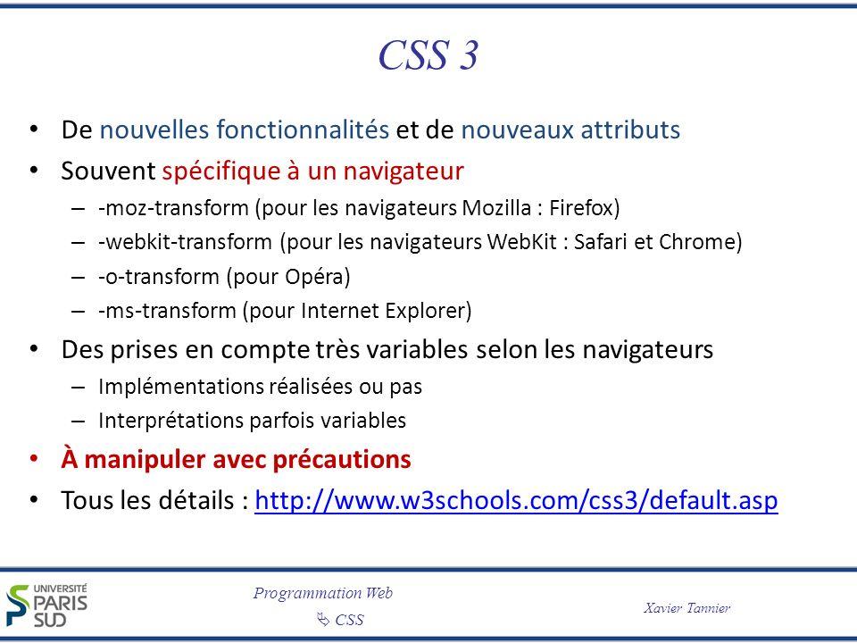 CSS 3 De nouvelles fonctionnalités et de nouveaux attributs