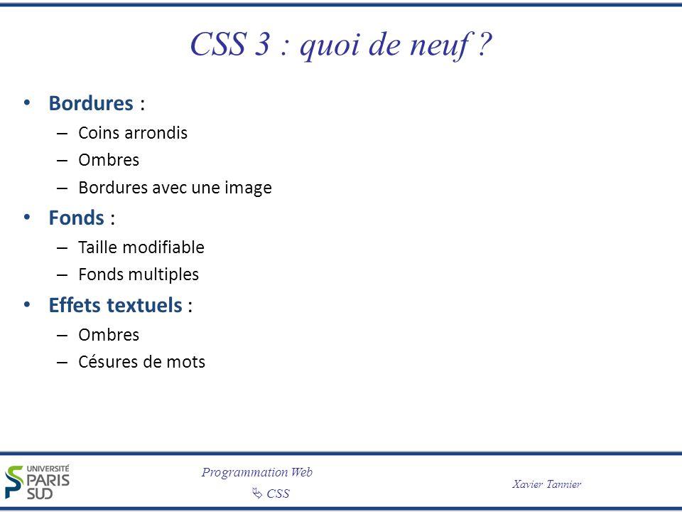 CSS 3 : quoi de neuf Bordures : Fonds : Effets textuels :
