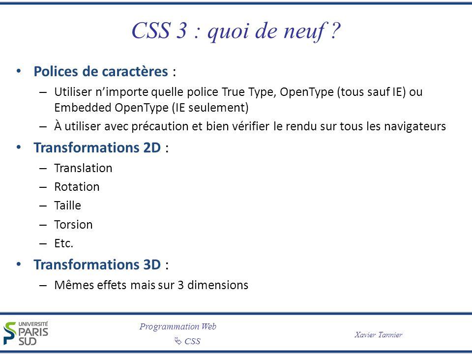 CSS 3 : quoi de neuf Polices de caractères : Transformations 2D :