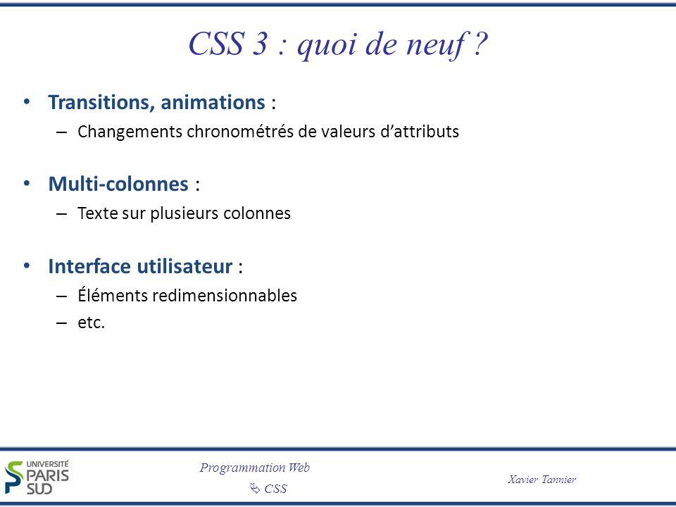 CSS 3 : quoi de neuf Transitions, animations : Multi-colonnes :