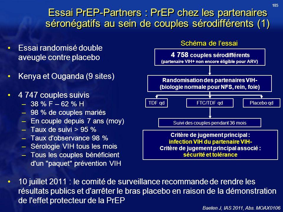 185 Essai PrEP-Partners : PrEP chez les partenaires séronégatifs au sein de couples sérodifférents (1)