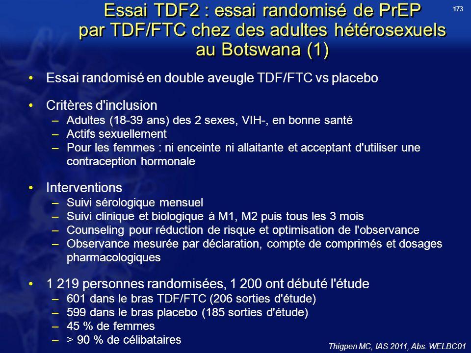 173 Essai TDF2 : essai randomisé de PrEP par TDF/FTC chez des adultes hétérosexuels au Botswana (1)