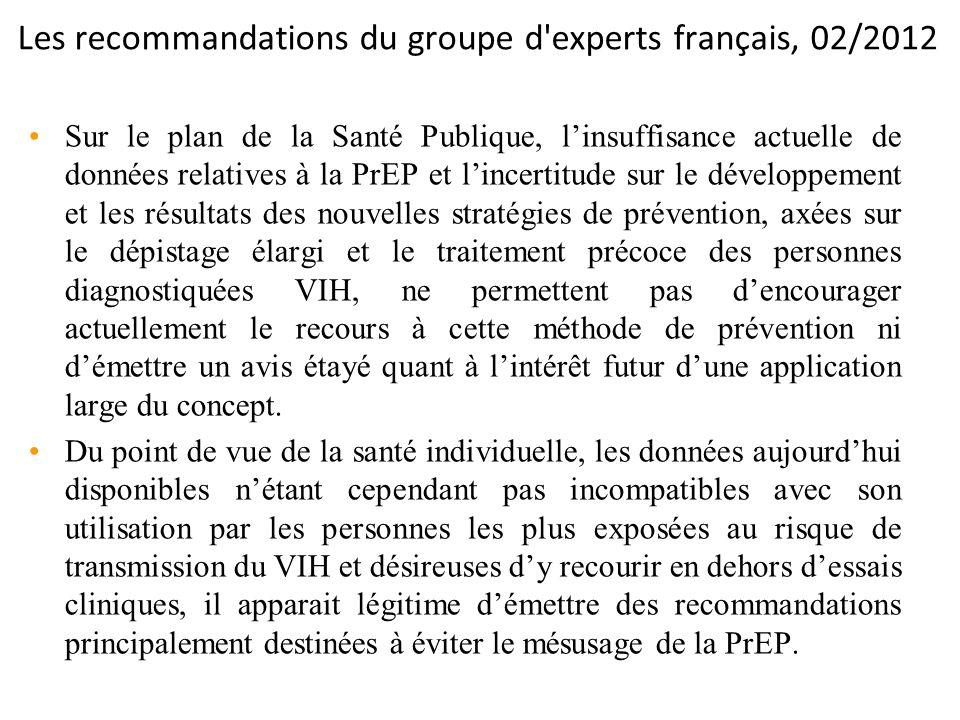Les recommandations du groupe d experts français, 02/2012