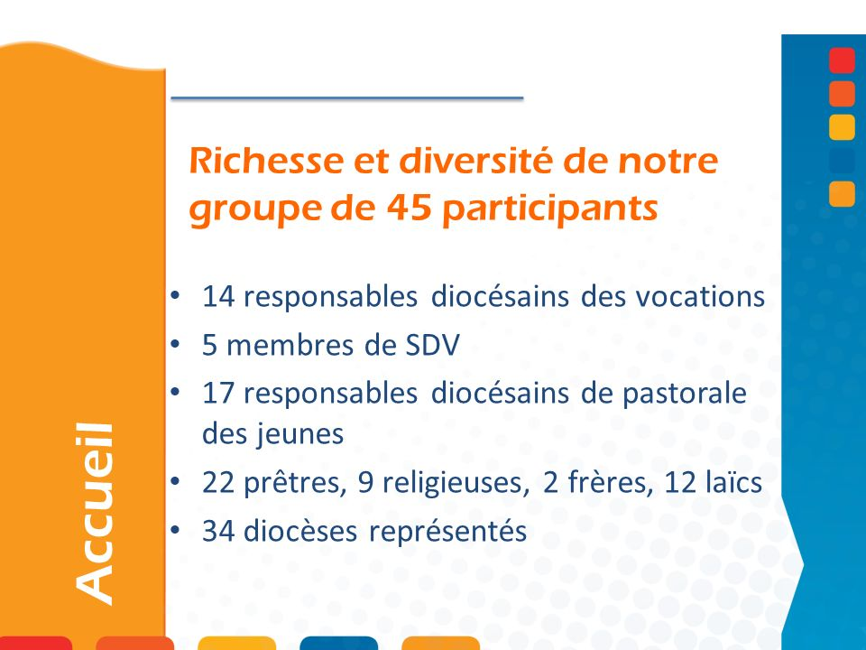 Richesse et diversité de notre groupe de 45 participants