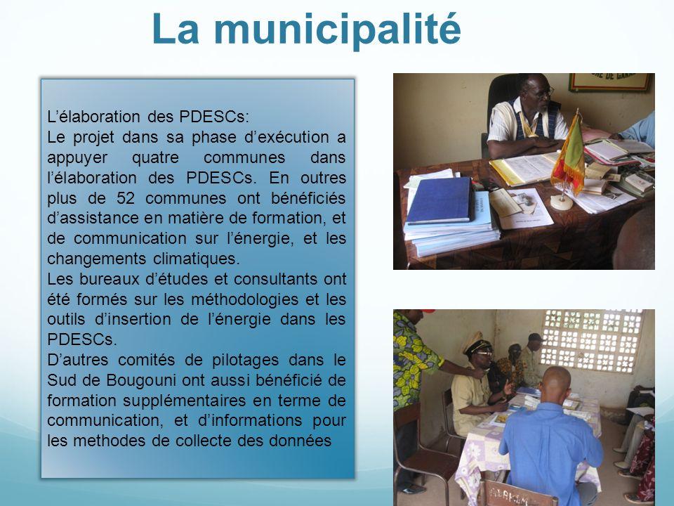 La municipalité L'élaboration des PDESCs: