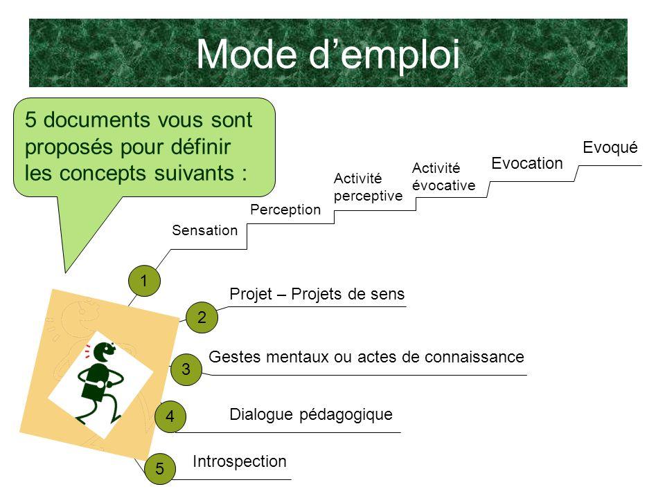Mode d'emploi 5 documents vous sont proposés pour définir les concepts suivants : Evoqué. Evocation.
