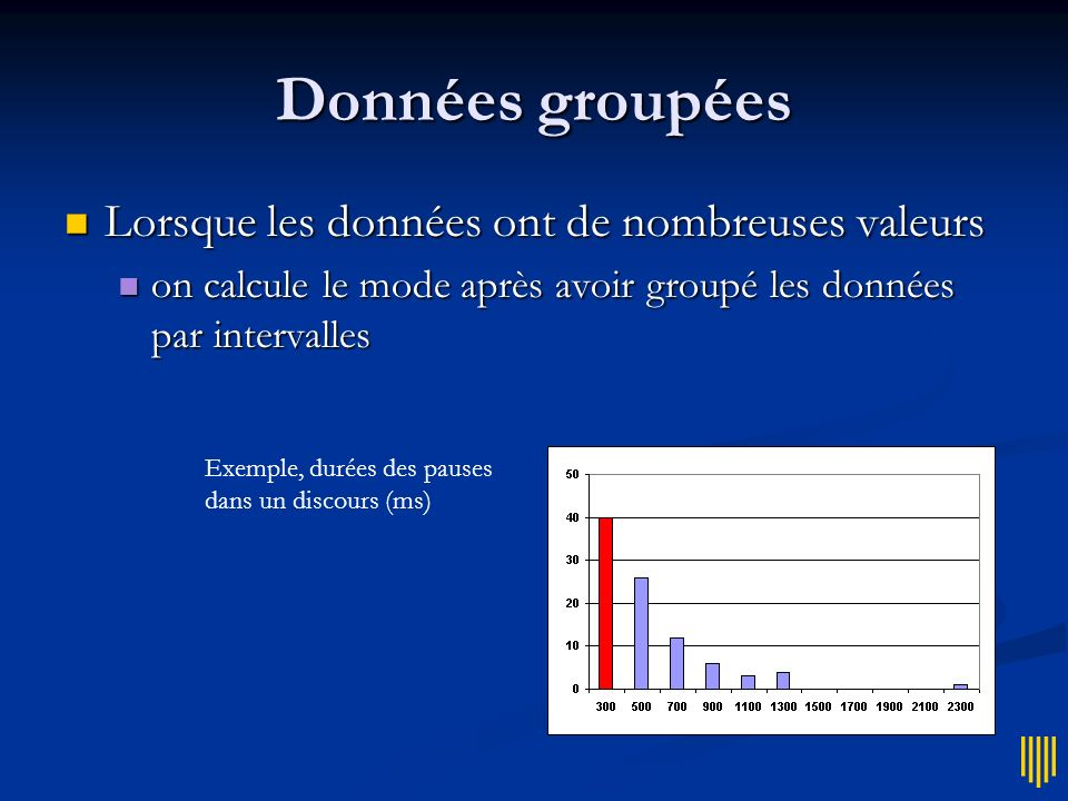 Données groupées Lorsque les données ont de nombreuses valeurs