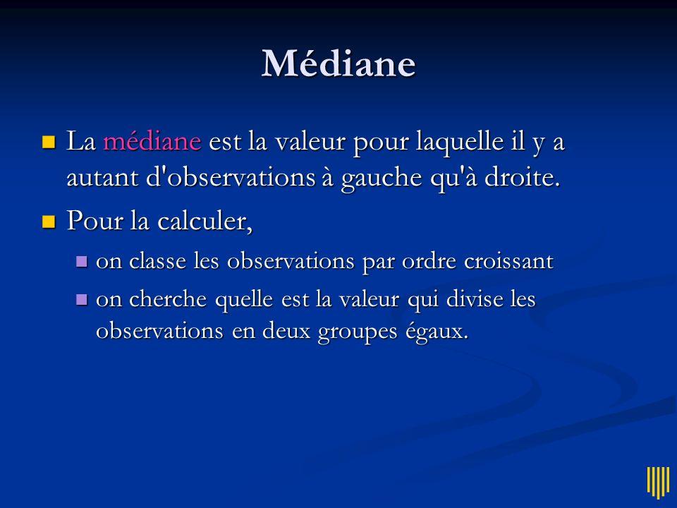 Médiane La médiane est la valeur pour laquelle il y a autant d observations à gauche qu à droite. Pour la calculer,