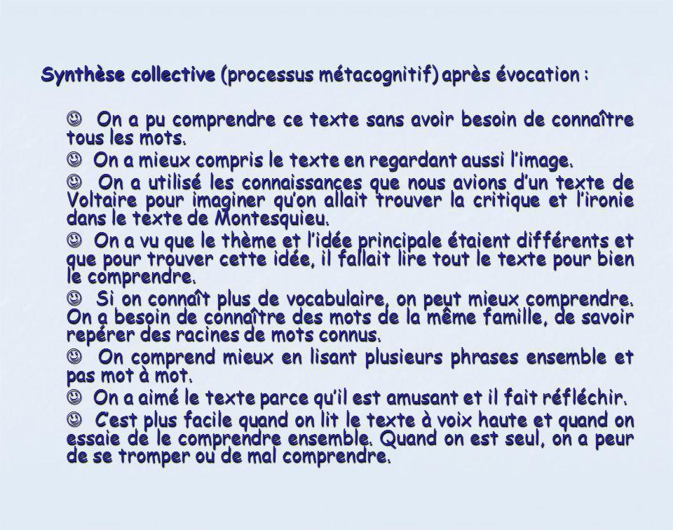 Synthèse collective (processus métacognitif) après évocation :