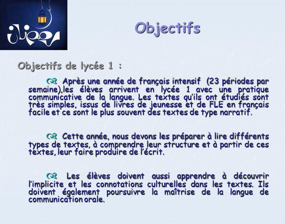 Objectifs Objectifs de lycée 1 :