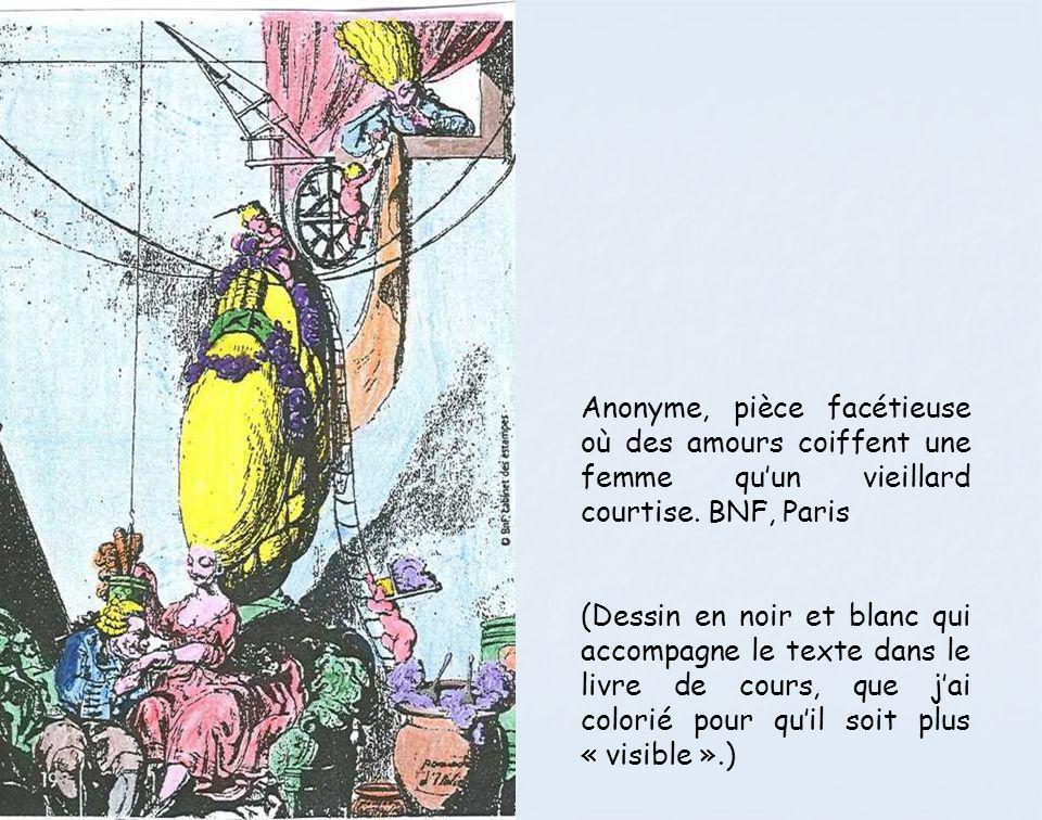 Anonyme, pièce facétieuse où des amours coiffent une femme qu'un vieillard courtise. BNF, Paris