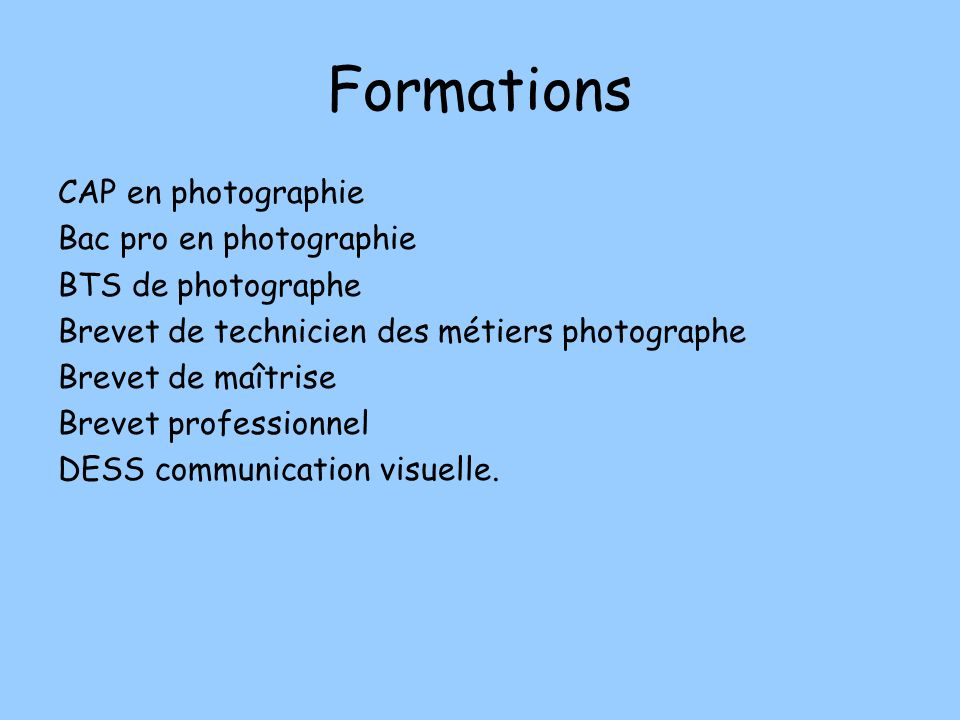 Formations CAP en photographie Bac pro en photographie
