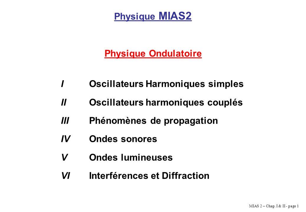 Physique MIAS2 Physique Ondulatoire. I Oscillateurs Harmoniques simples. II Oscillateurs harmoniques couplés.