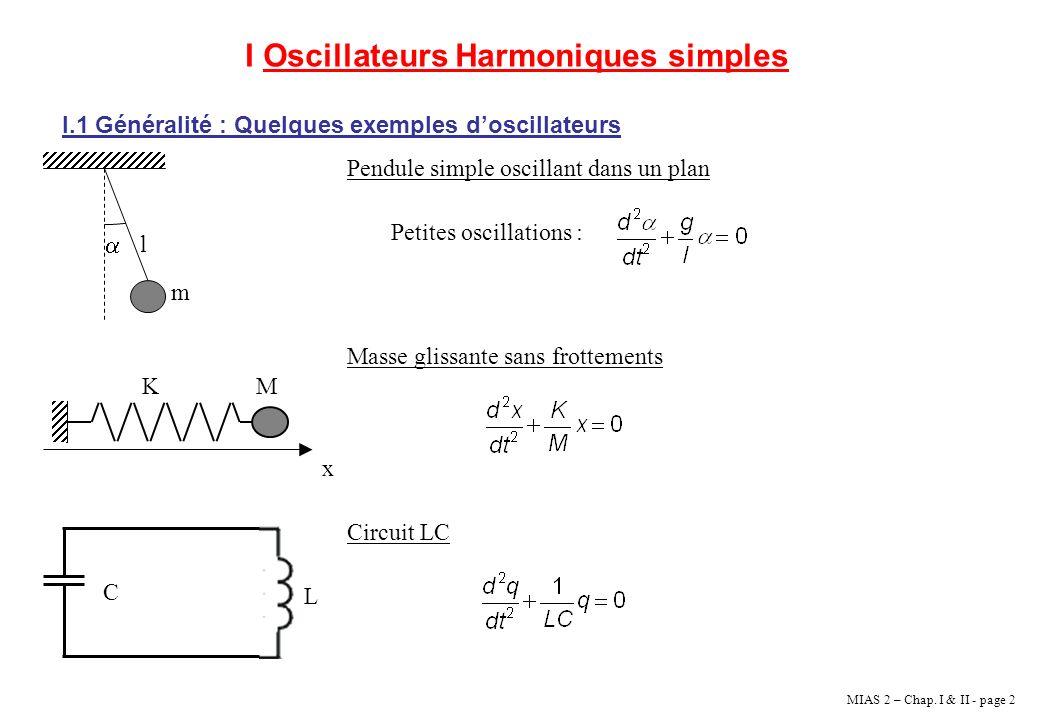 I Oscillateurs Harmoniques simples