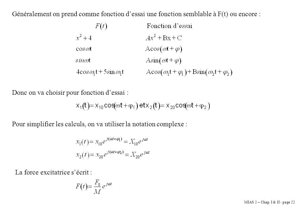 Généralement on prend comme fonction d'essai une fonction semblable à F(t) ou encore :