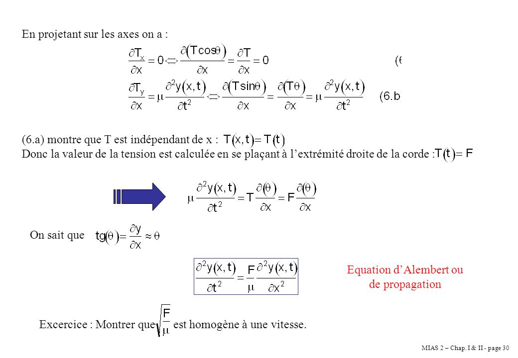 Equation d'Alembert ou de propagation