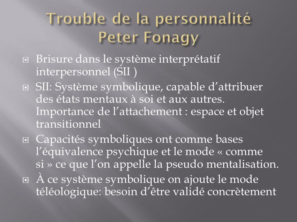 Trouble de la personnalité Peter Fonagy