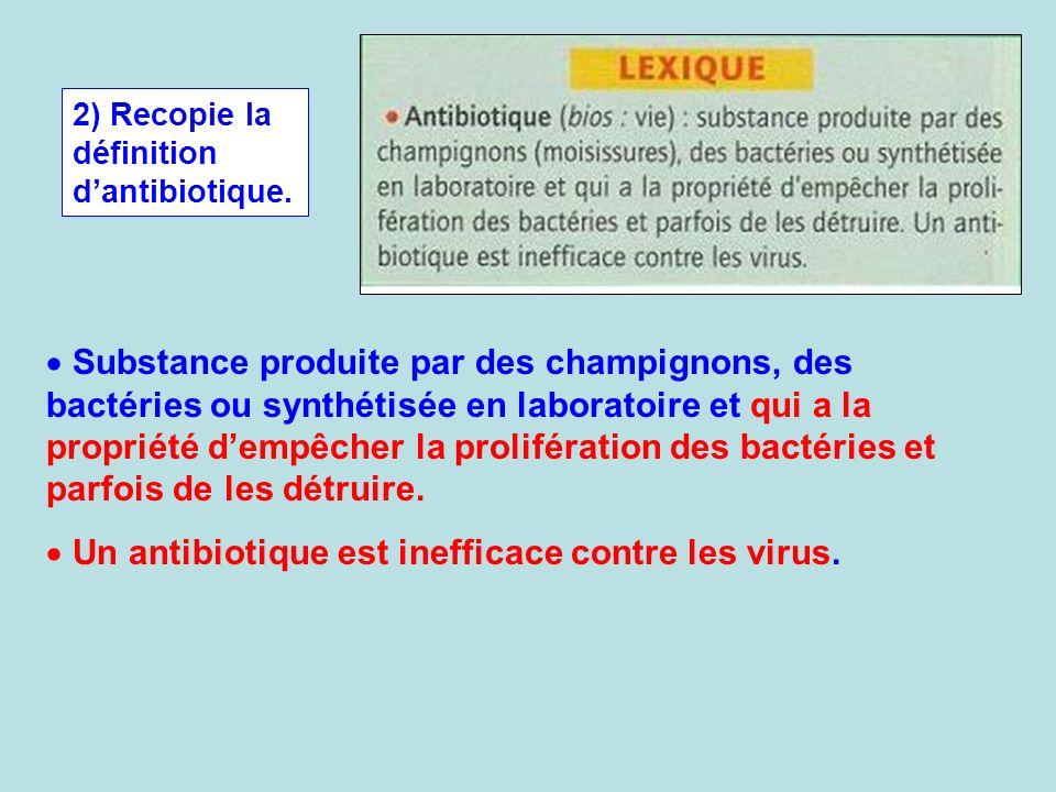 Un antibiotique est inefficace contre les virus.