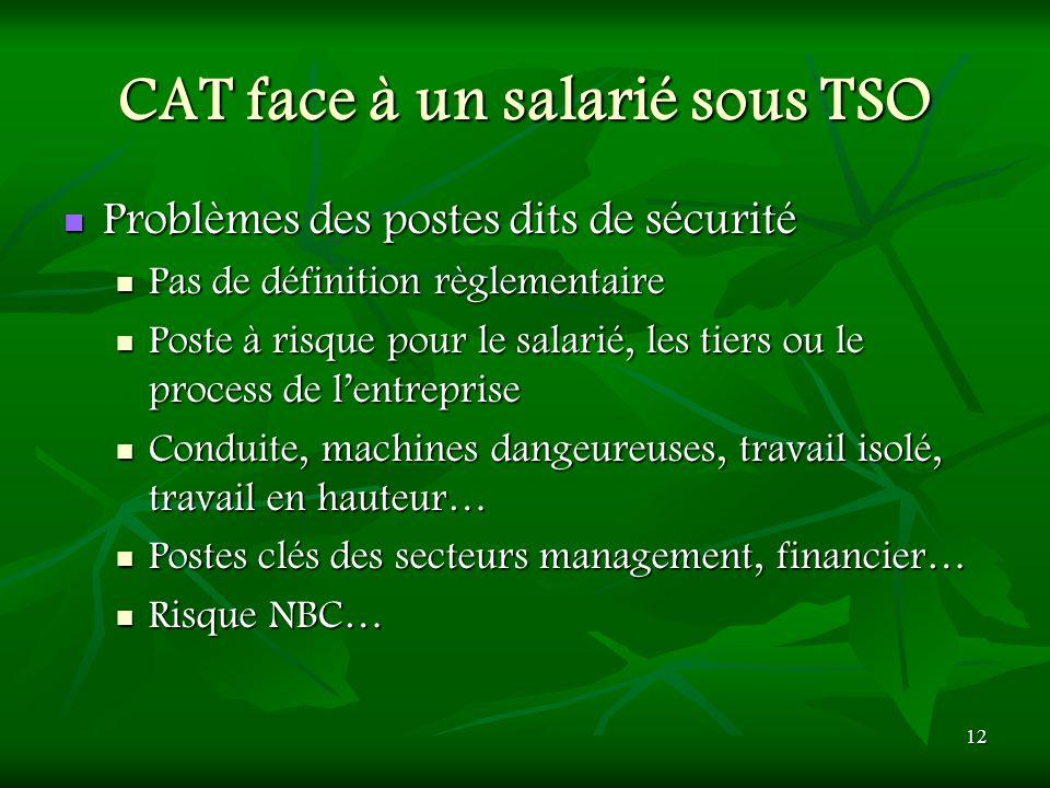CAT face à un salarié sous TSO