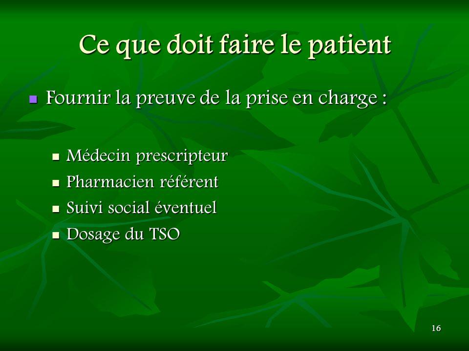 Ce que doit faire le patient