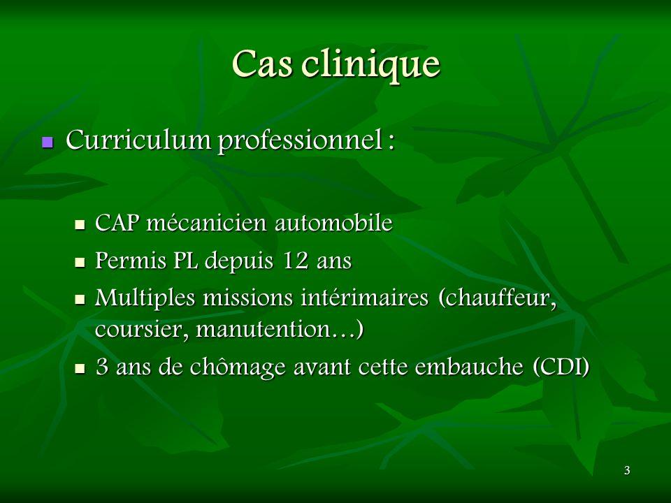Cas clinique Curriculum professionnel : CAP mécanicien automobile