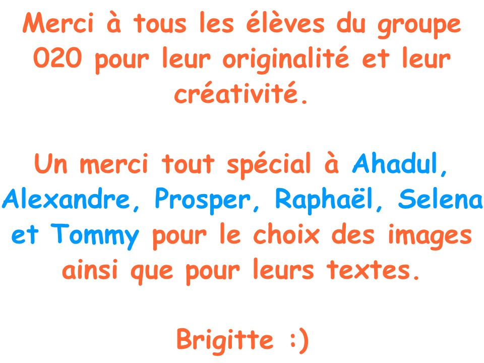 Merci à tous les élèves du groupe 020 pour leur originalité et leur créativité.
