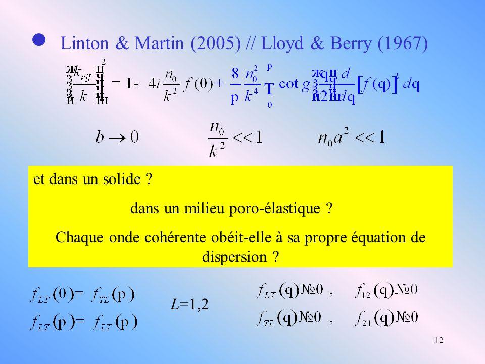 Chaque onde cohérente obéit-elle à sa propre équation de dispersion