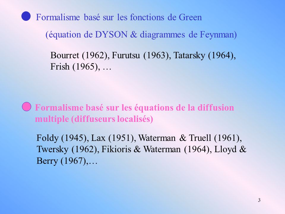 Formalisme basé sur les fonctions de Green