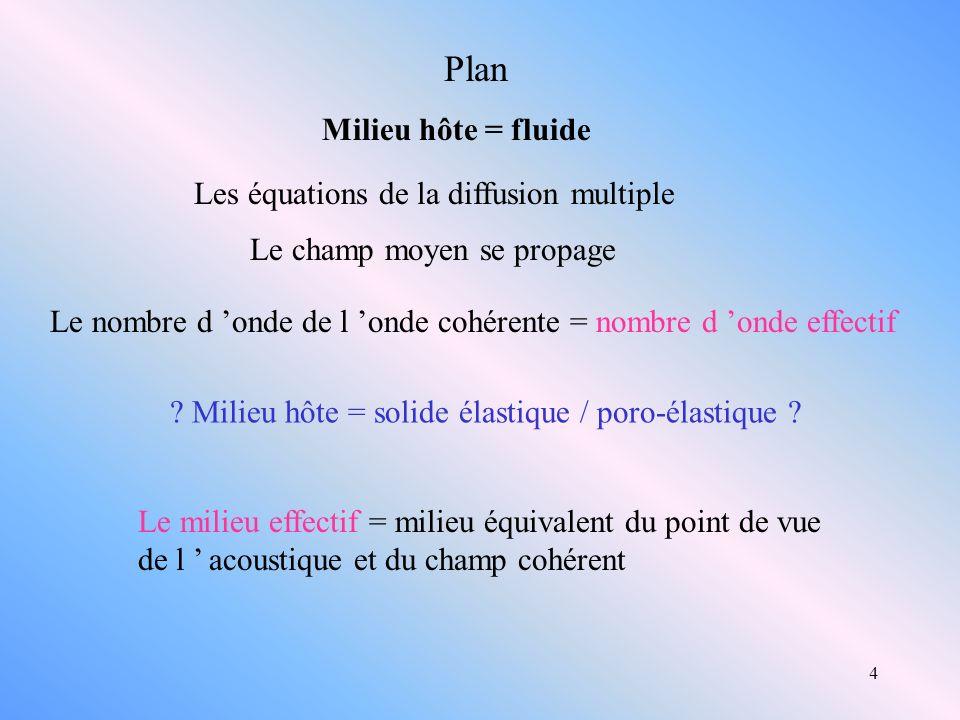 Plan Milieu hôte = fluide Les équations de la diffusion multiple
