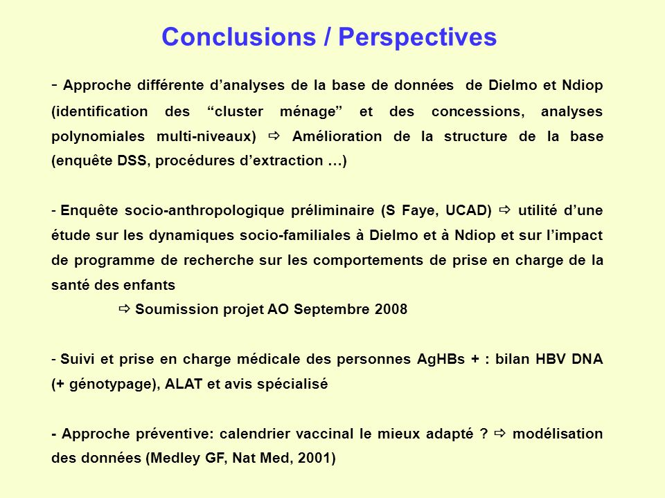 Conclusions / Perspectives