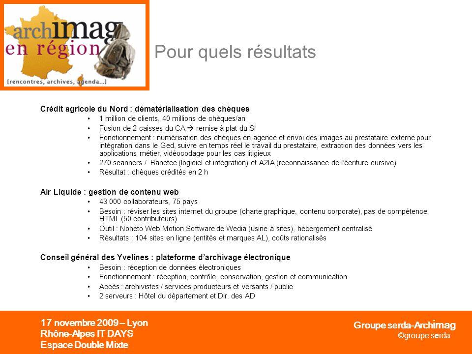 Pour quels résultats 17 novembre 2009 – Lyon Rhône-Alpes IT DAYS