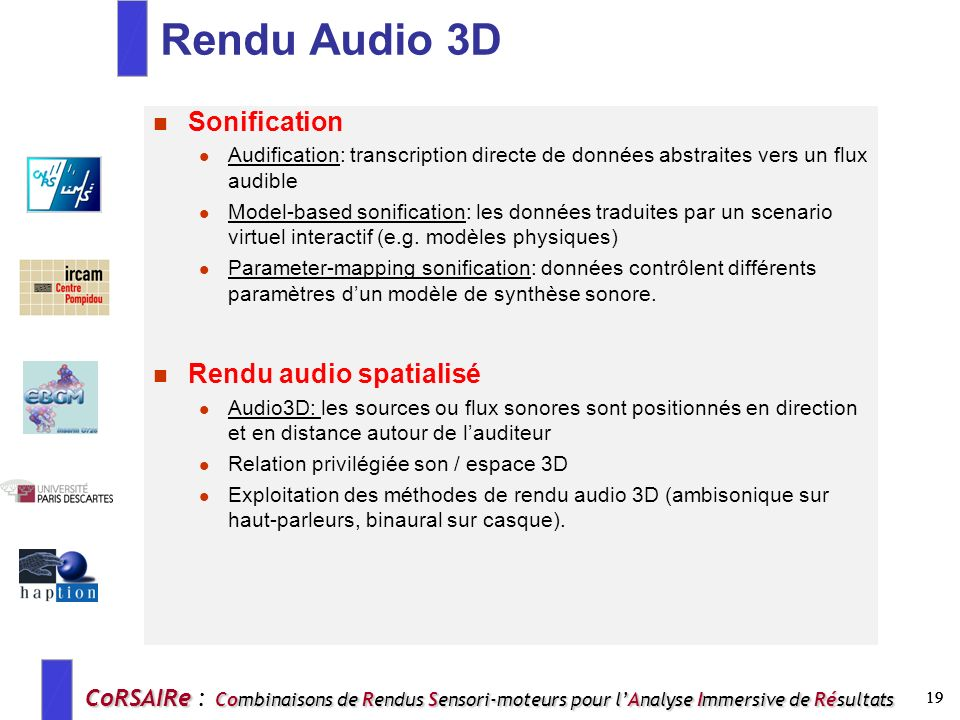 Rendu Audio 3D Sonification Rendu audio spatialisé
