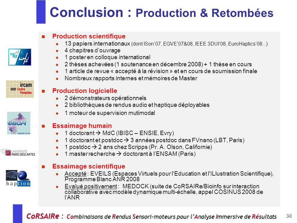 Conclusion : Production & Retombées