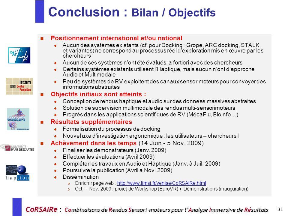 Conclusion : Bilan / Objectifs