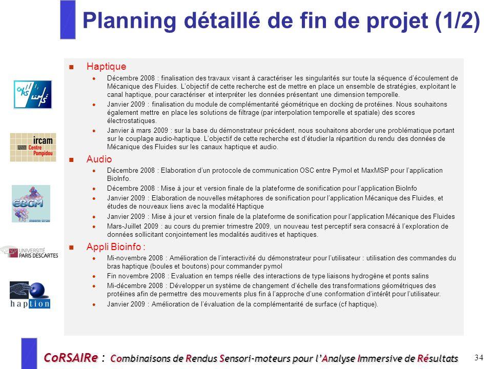 Planning détaillé de fin de projet (1/2)