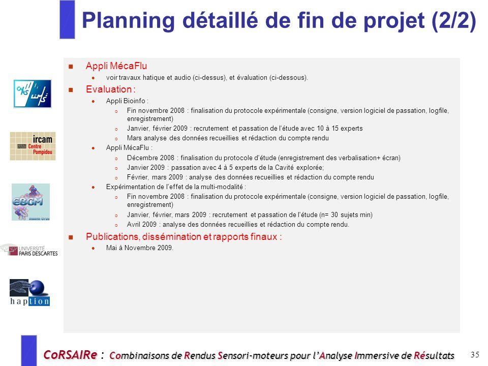 Planning détaillé de fin de projet (2/2)