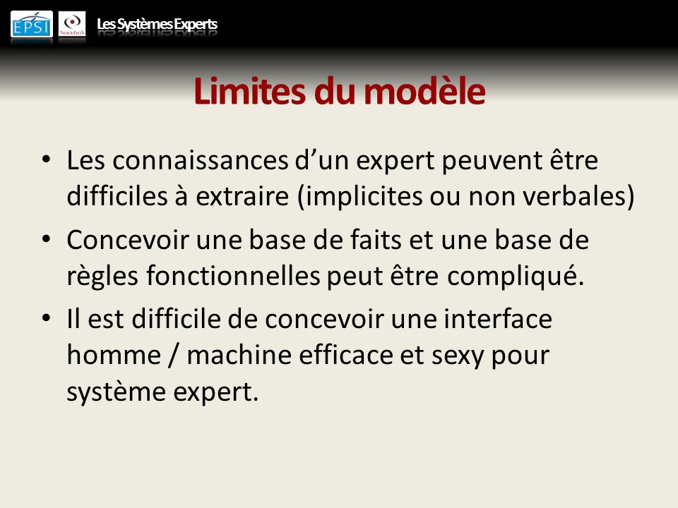 Limites du modèle Les connaissances d'un expert peuvent être difficiles à extraire (implicites ou non verbales)