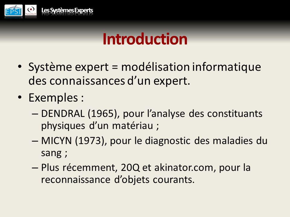 Introduction Système expert = modélisation informatique des connaissances d'un expert. Exemples :
