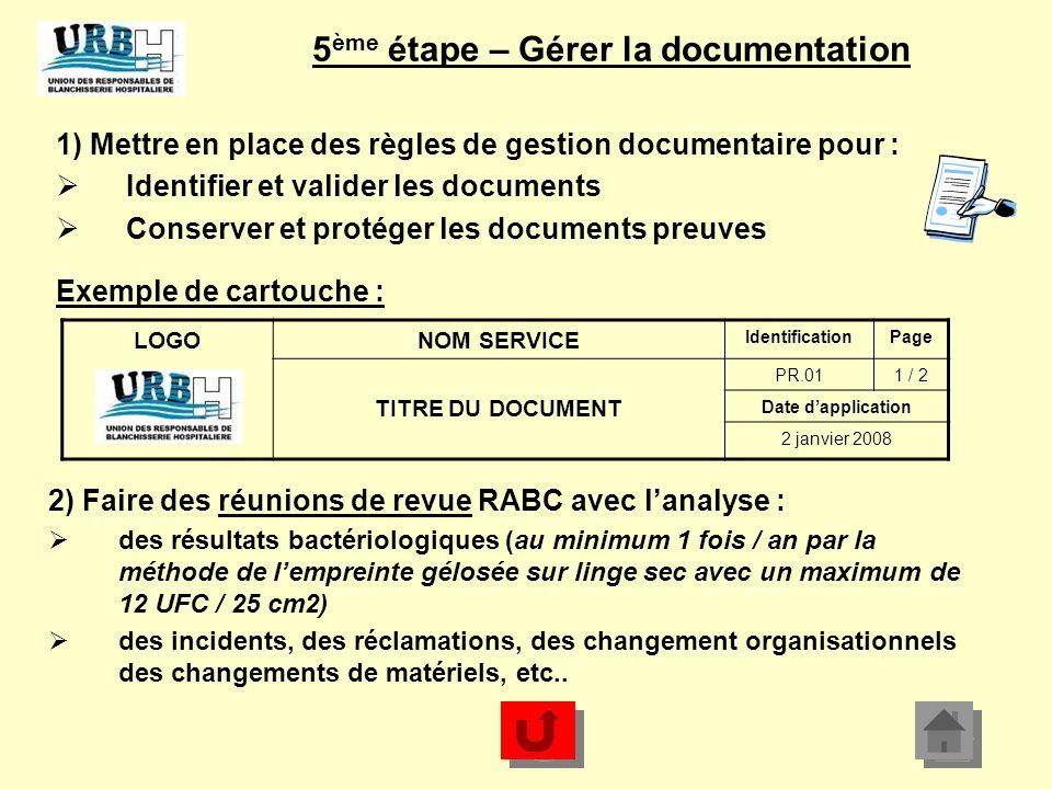 5ème étape – Gérer la documentation