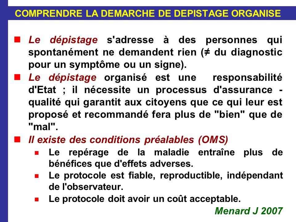 COMPRENDRE LA DEMARCHE DE DEPISTAGE ORGANISE