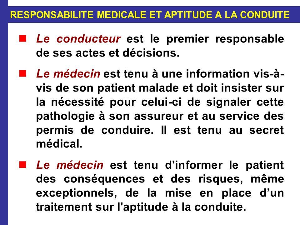 RESPONSABILITE MEDICALE ET APTITUDE A LA CONDUITE