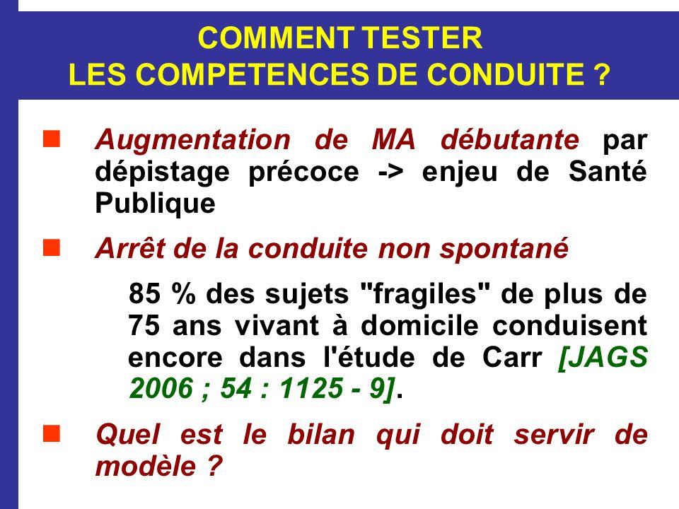 COMMENT TESTER LES COMPETENCES DE CONDUITE