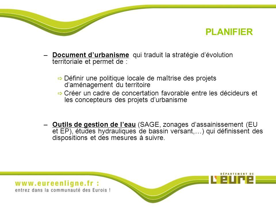 PLANIFIER Document d'urbanisme qui traduit la stratégie d'évolution territoriale et permet de :