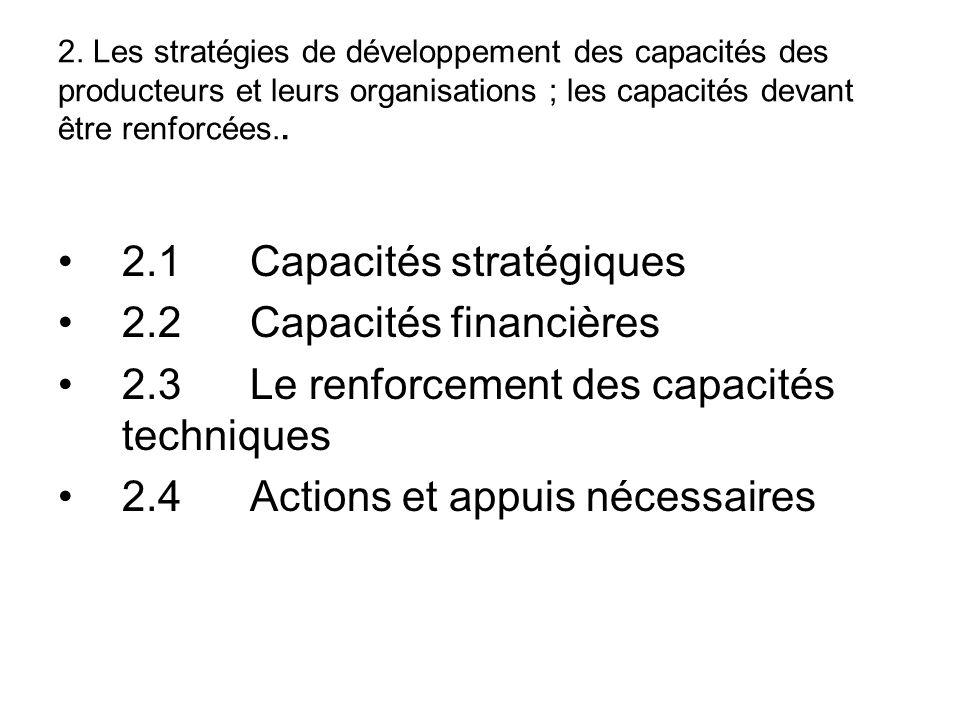 2.1 Capacités stratégiques 2.2 Capacités financières