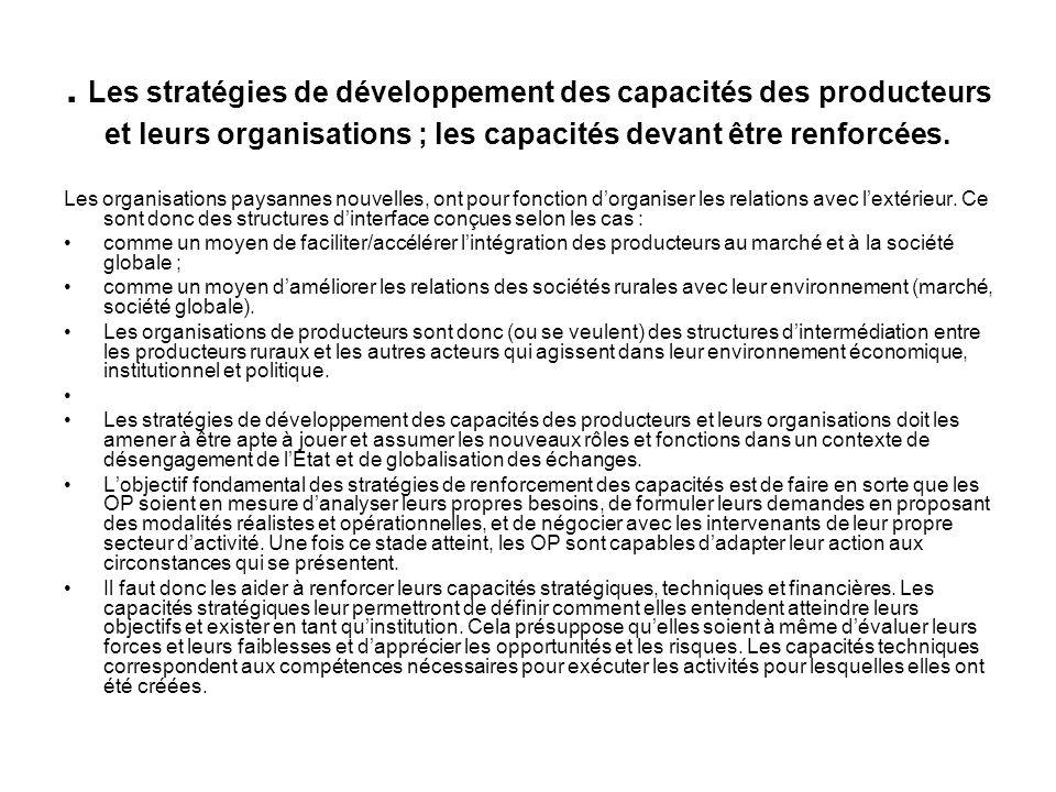 . Les stratégies de développement des capacités des producteurs et leurs organisations ; les capacités devant être renforcées.