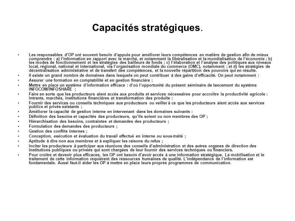 Capacités stratégiques.