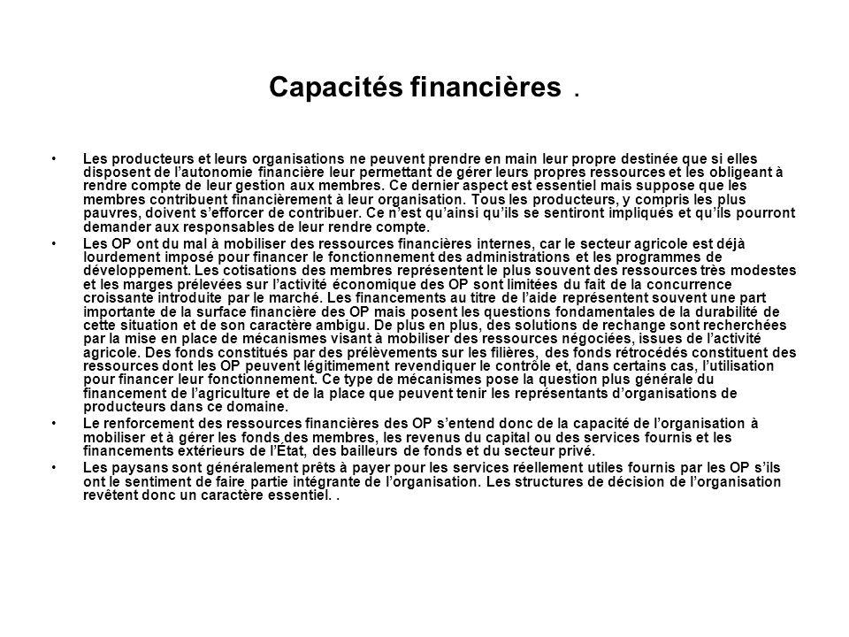 Capacités financières .