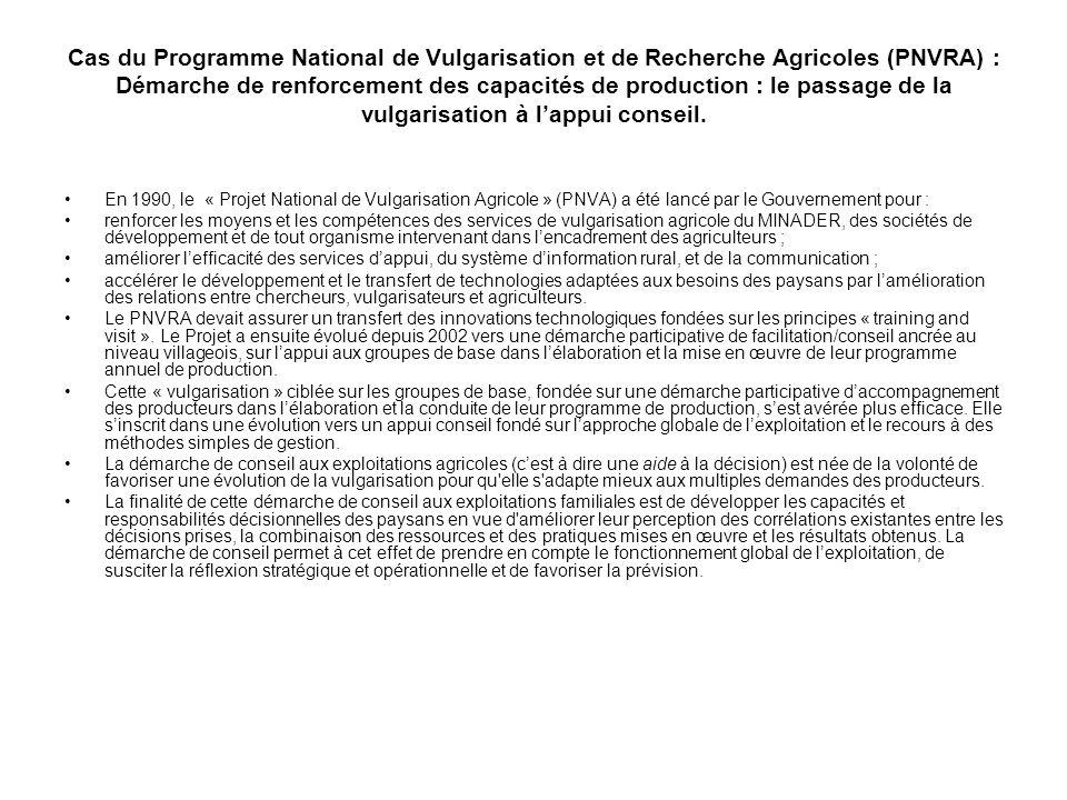 Cas du Programme National de Vulgarisation et de Recherche Agricoles (PNVRA) : Démarche de renforcement des capacités de production : le passage de la vulgarisation à l'appui conseil.