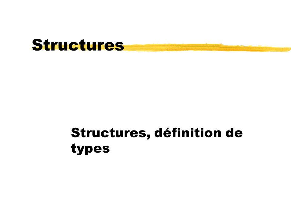 Structures, définition de types